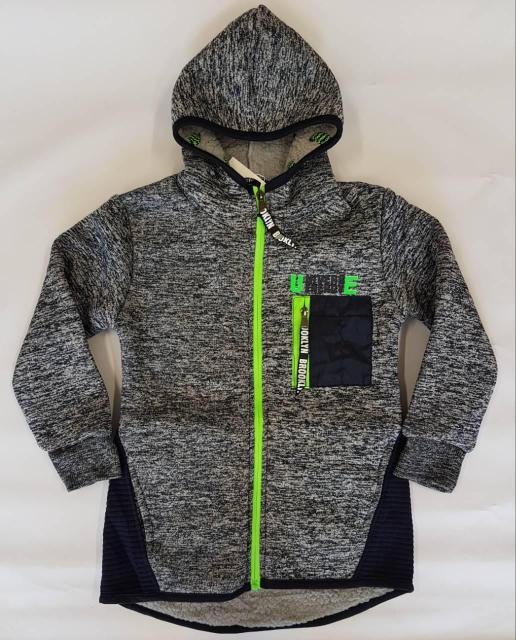 Толстовка-куртка на меху р.98-128 светло-серый +черный