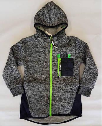 Толстовка-куртка на меху р.98-128 светло-серый +черный, фото 2