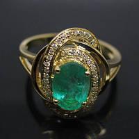 Золотое кольцо 585 проба ,изумруд.,бриллиант Размер 17