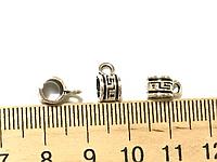 Бейл, Держатель для кулона, Античное серебро, Цинковый сплав, 5 mm x 9 mm