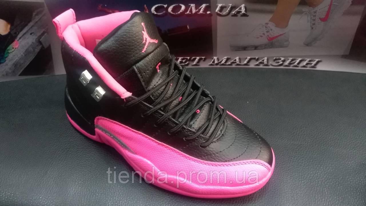e8058270ed71 ... Женские Баскетбольные Кроссовки Nike Air Jordan 12 Retro Black   Pink (  черно-розовый ) ...