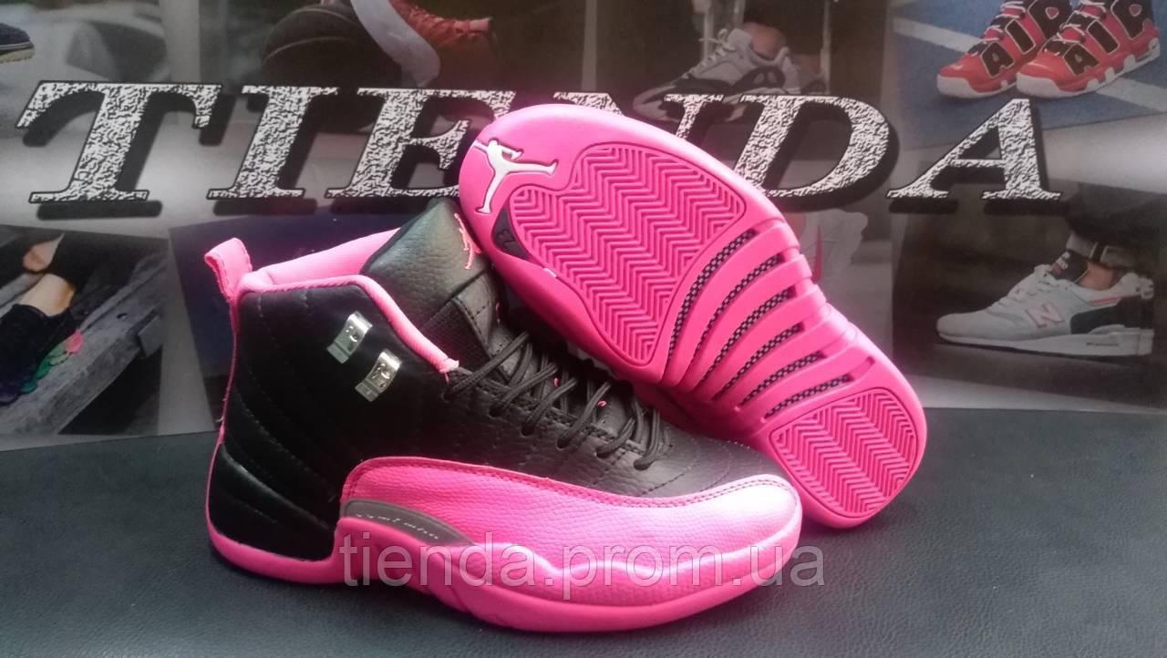 ad62cfb42290 Женские Баскетбольные Кроссовки Nike Air Jordan 12 Retro Black   Pink (  черно-розовый )