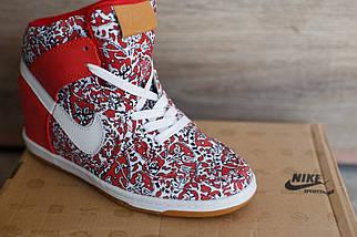 Сникерсы женские Nike красный белый цвета, фото 2