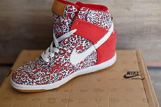Сникерсы женские Nike красный белый цвета, фото 3