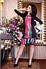 Платье по калено цветное с воланом по низу, красивое, яркое, повседневное, теплое черное