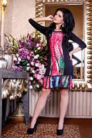 Платье по калено цветное с воланом по низу, красивое, яркое, повседневное, теплое черное, фото 1