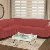 Чехол на угловой диван + кресло Разные цвета терракотовый