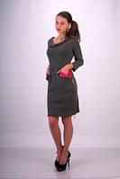 Платье теплое ангорка серое, повседневное по колено, строгое, деловое, красивое