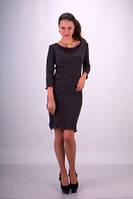 Платье теплое ангорка темно серое по колено повседневное, строгое, офисное, деловое, фото 1