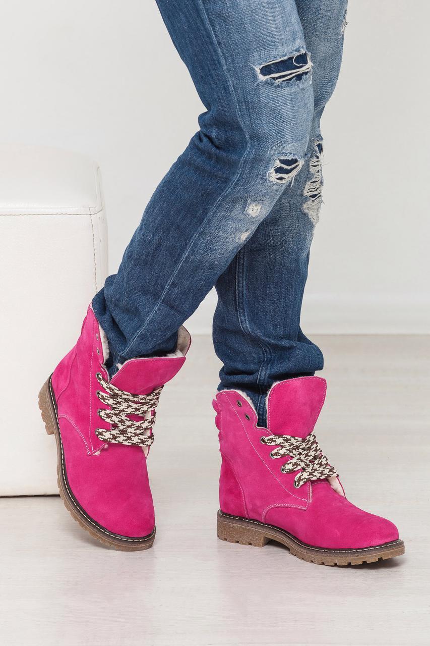 Модные женские ботинки KOMFORT натуральные замшевые тимберленды