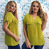 8a08b774e12 Оливковая стильная женская летняя шифоновая блузка с коротким рукавом.  Арт-4160 32