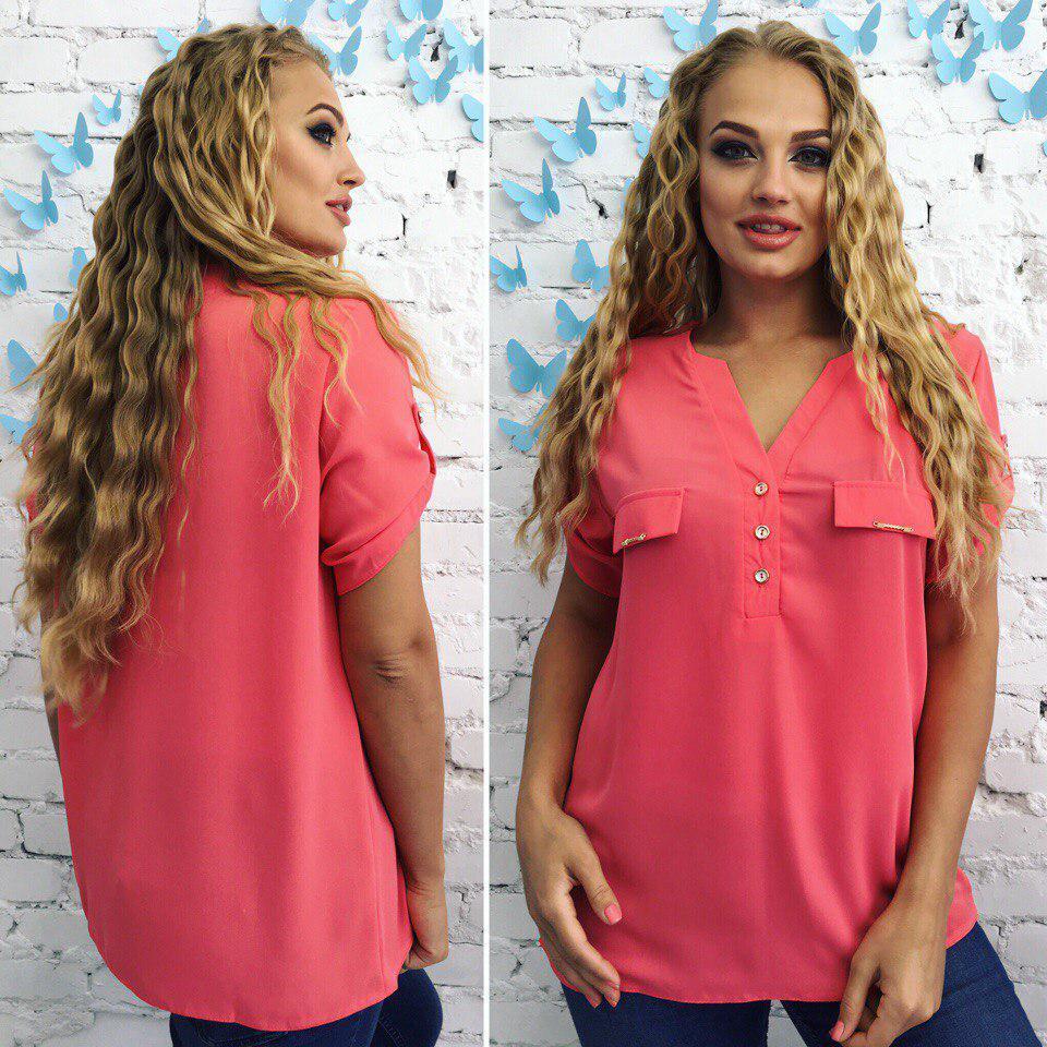 3b34b6f79eb Коралловая стильная женская летняя шифоновая блузка с коротким рукавом.  Арт-4160 32