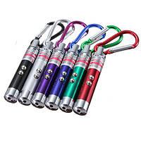Брелок-фонарик 117 (led-подсветка, лазер, ультрафиолетовая лампа), компактный, с карабином