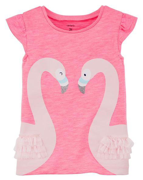 Купить Футболка для девочки Фламинго арт. 235Н214 (Carters) 18М