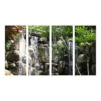 Картина модульная из стекла - 4 части - равные сегменты - водопад