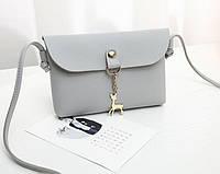2e40f1a273ac Мини сумка классическая женская с оленем через плечо/на плечо, серого цвета