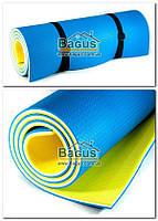 """Каремат (коврик изоляционый) 12мм """"Tourist 12 желто-бело-синий"""" Izolon с двумя стяжками"""