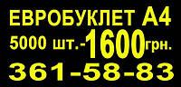 Буклет, евробуклет А4 5000 штук — 1600 грн.