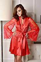 Красный атласный халат с кружевным рукавом