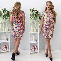Красивое цветное легкое летнее штапельное платье больших размеров. Арт-4169/32, фото 1