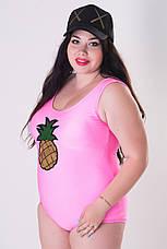 Купальник великих розмірів Ананас рожевий, фото 2