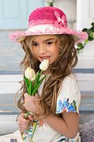 Детская летняя широкополая шляпа с рюшами из фатина (разные цвета)