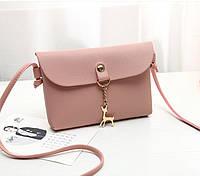 Женственная классическая мини сумка с оленем через плечо/на плечо, розовая