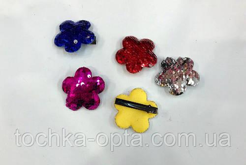Приколки  для волос с пайетками Цветочки