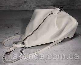 293 Натуральная кожа Светлый бежевый экрю городской кожаный рюкзак женский из натуральной кожи Карабин антивор, фото 3