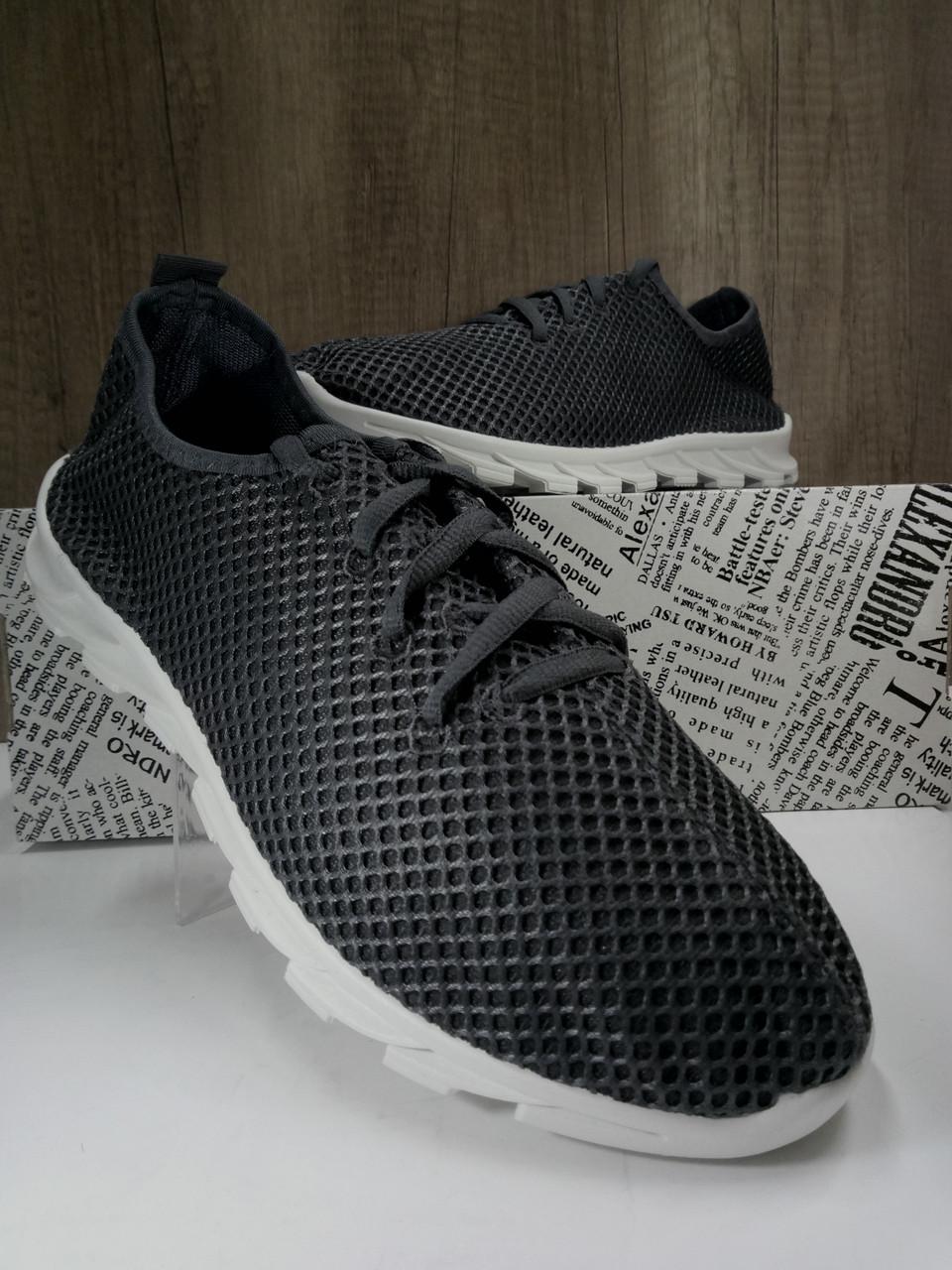Летние мужские кроссовки серого цвета,текстиль + сетка