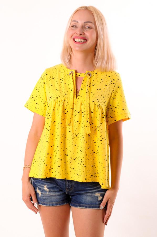 Женская футболка желтая  на завязке размеры 40-44