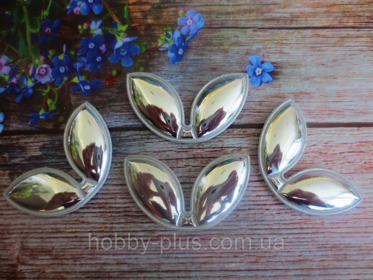 "Патчи ""Ушки"", цвет серебро, 60х35 мм, 1 шт."