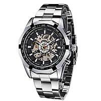 Механические мужские часы WINNER Timi Skeleton SILVER с автоподзаводом