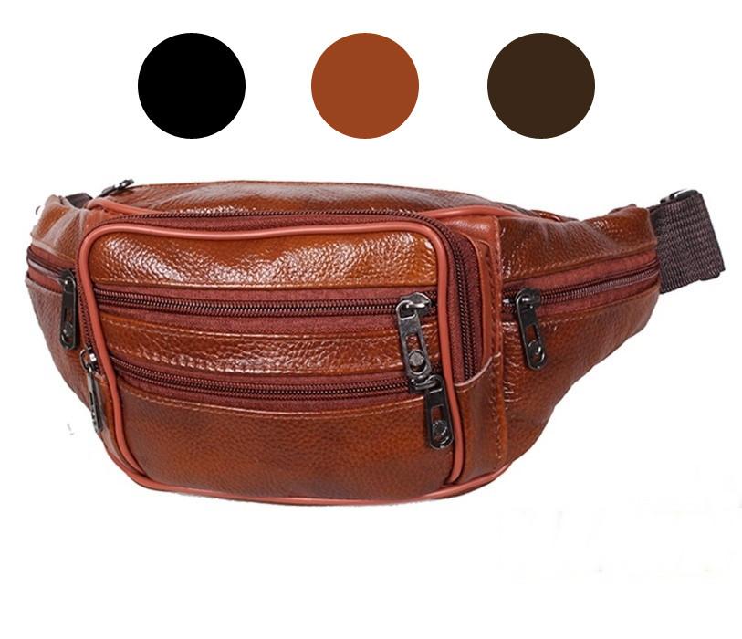 Мужская кожаная сумка бананка на пояс рыжая Accessory Collection RT-00