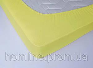 Простынь махровая на резинке Lotus Желтая 160*200+25