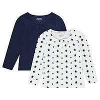 """Комплект (Франция, Orchestra) 2 футболки с длинным рукавом """"Синие звездочки"""" для девочки 5, 6, 8 лет"""