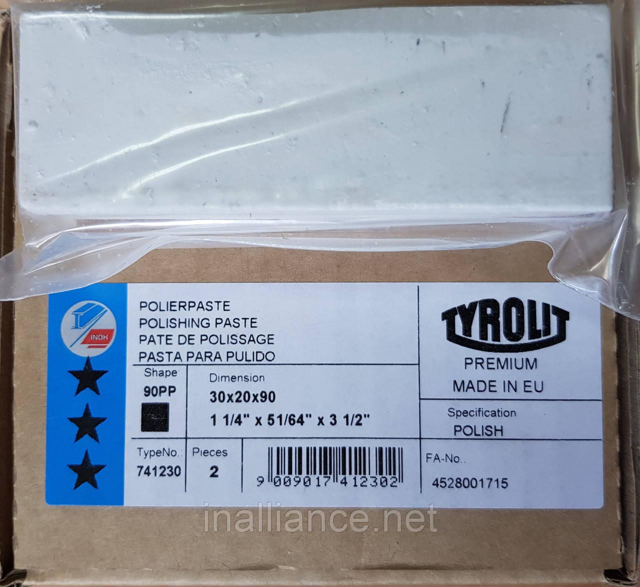 Паста полировальная для стали, нержавеющей стали, нержавейки, алюминия - твердая белая Polish Tyrolit T741230