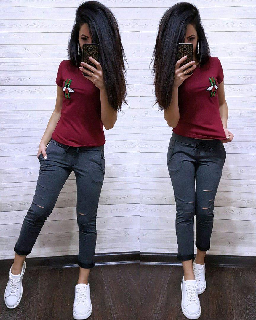 """Повседневный летний костюм """"Стрекоза"""", футболка и брюки 7/8 размеры от S до XXL"""