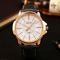 """Мужские наручные часы """"YAZOLE Classic"""" черные кварцевые с белым циферблатом"""