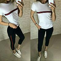 Костюм женский спортивный футболка-брюки в стиле GUCCi (много цветов)