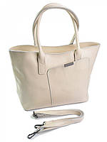 Женская кожаная сумка с ассиметричным карманом A009 бежевая, фото 1
