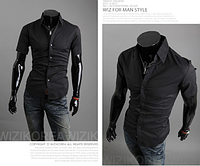 Рубашка мужская современная классическая (черная) M-XXL код 59