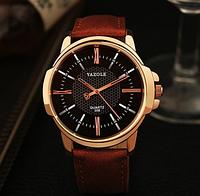 """Мужские наручные часы """"YAZOLE Classic"""" коричневые кварцевые"""