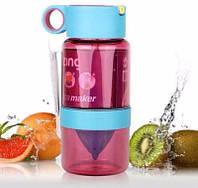 Бутылка для воды с поилкой для самодельного лимонада 450 мл, розовая