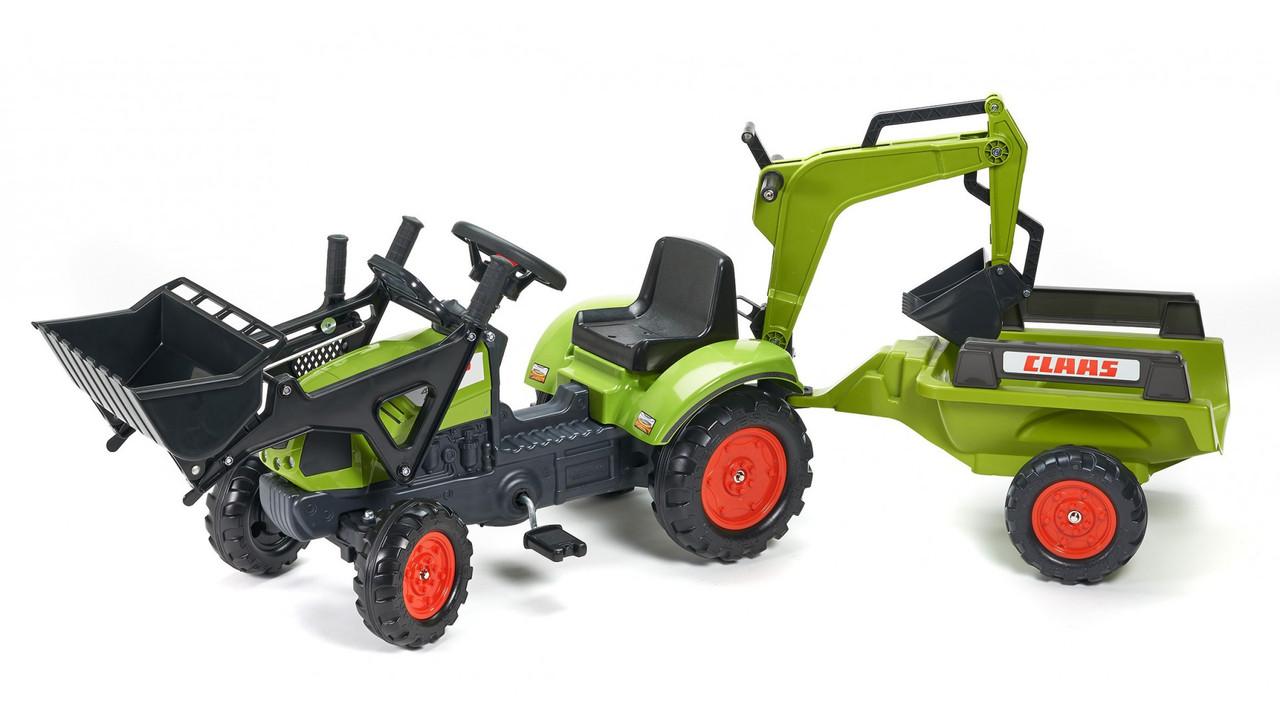 Трактор Педальный с Прицепом и двумя Ковшами Claas Arion Falk 2040N. Машинка для детей