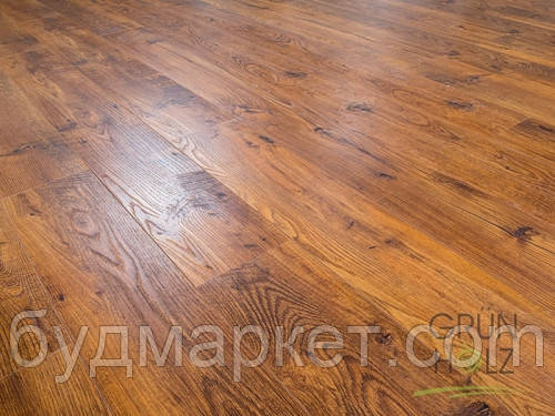 Ламинат Grun Holz Дуб Бавария тёмный 1215*165*8мм 33 класс 93405