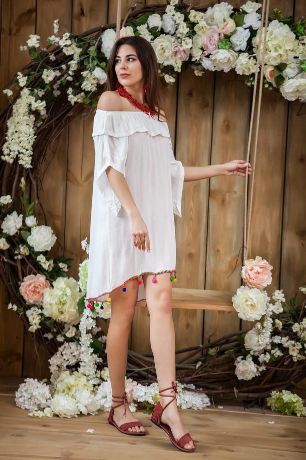 Легкое белое платье из натурального хлопка, М,Л,ХЛ,ХХЛ