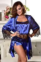 Комплект халат с пижамой из атласа Электрик. Размеры от XS до XL.