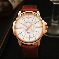 """Мужские наручные часы """"YAZOLE Classic"""" коричневые кварцевые с белым циферблатом"""