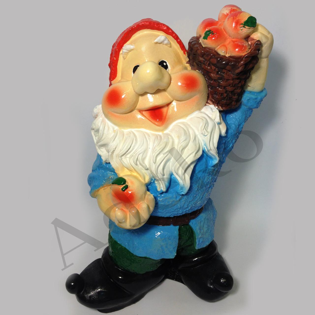 Декоративная фигура Гном с яблоками 39 см